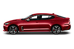Car driver side profile view of a 2018 KIA Stinger GT 5 Door Hatchback