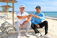 Matteo Manassero (ITA) and Jason Scrivener (AUS) at the beach ahead of the Rocco Forte Sicilian Open played at Verdura Resort, Agrigento, Sicily, Italy 08/05/2018.<br /> Picture: Golffile | Phil Inglis<br /> <br /> <br /> All photo usage must carry mandatory copyright credit (&copy; Golffile | Phil Inglis)