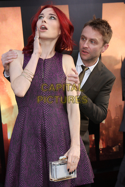 HOLLYWOOD, CA - May 08: Chloe Dykstra, Chris Hardwick at the &quot;Godzilla&quot; Los Angeles Premiere, Dolby Theater, Hollywood,  May 08, 2014.  <br /> CAP/MPI/JO<br /> &copy;Janice Ogata/MediaPunch/Capital Pictures