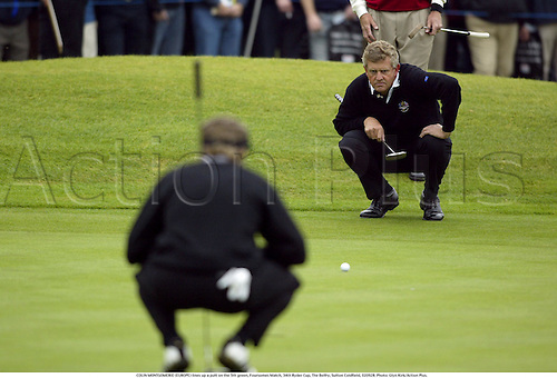 COLIN MONTGOMERIE (EUROPE) lines up a putt on the 5th green, Foursomes Match, 34th Ryder Cup, The Belfry, Sutton Coldfield, 020928. Photo: Glyn Kirk/Action Plus....2002.golf golfer player.putts putting  ..... .....