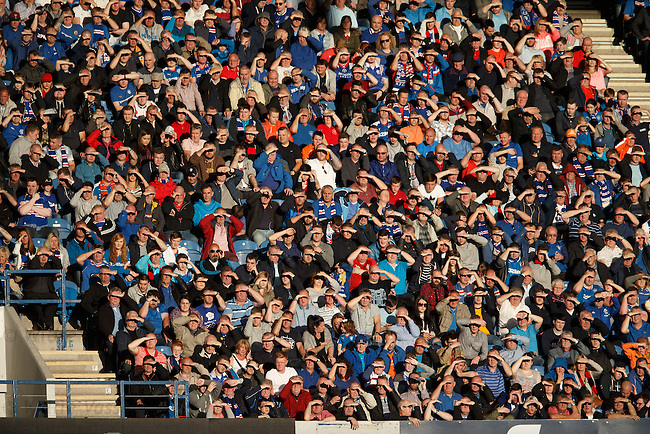 Rangers fans in CR4 saluting their photographer - or maybe not!