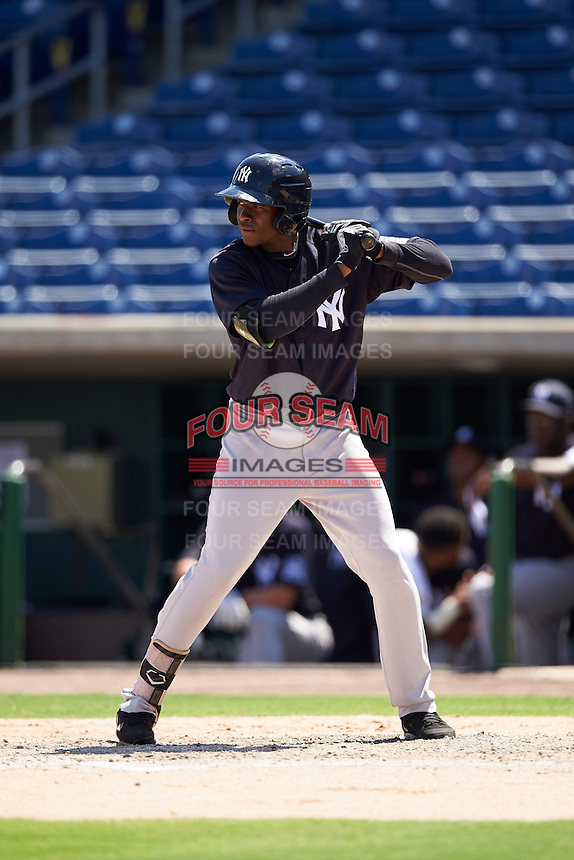 New York Yankees Estevan Florial (13) during an Instructional League game against the Philadelphia Phillies on September 27, 2016 at Bright House Field in Clearwater, Florida.  (Mike Janes/Four Seam Images)