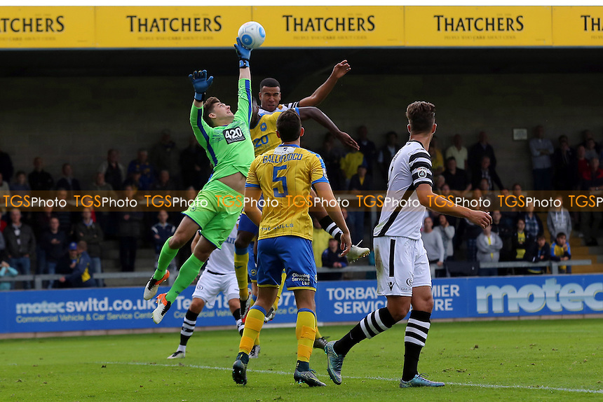 Torquay goalkeeper, Brendan Moore, palms the ball away to foil a Maidstone attack during Torquay United vs Maidstone United , Vanarama National League Football at Plainmoor on 24th September 2016