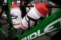 André Greipel (DEU/Lotto-Soudal) got some customised bidons from the soigneurs with some 'motivational' messages to get through the day<br /> <br /> stage 4: Seraing (BEL) - Cambrai (FR) <br /> 2015 Tour de France