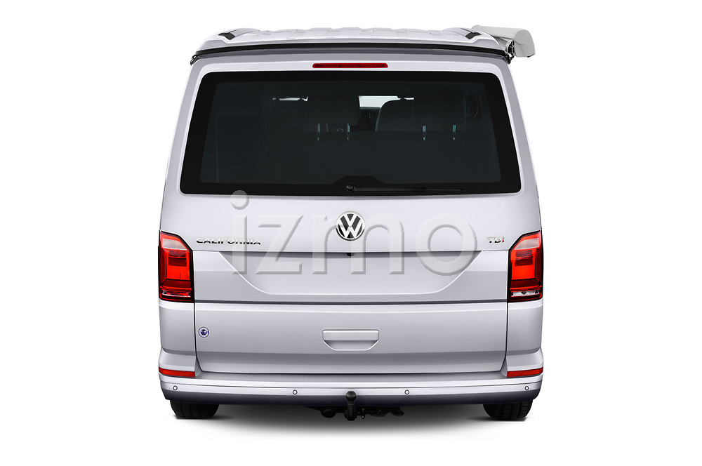 Straight rear view of a 2018 Volkswagen California Ocean 4 Door Passenger Van stock images