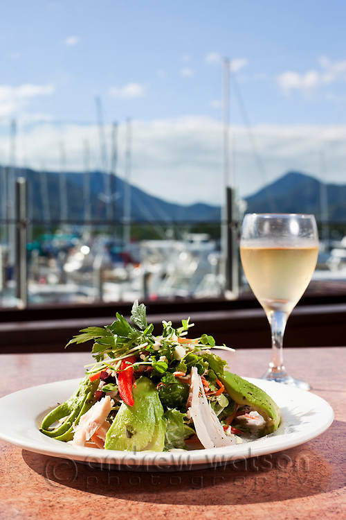 Chicken and avocado salad at Boardwalk Cafe on the waterfront.  The Pier, Cairns, Queensland, Australia