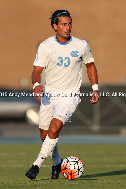 14 August 2015: North Carolina's Raby George (SWE). The University of North Carolina Tar Heels hosted the Winthrop University Eagles at Fetzer Field in Chapel Hill, NC in a 2015 NCAA Division I Men's Soccer preseason exhibition. North Carolina won the game 4-1.