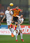 13.10.2018 Partick Thistle v Dundee Utd: Kris Doolan with Frederic Frans and Callum Booth