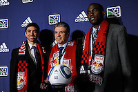 The fourteenth overall pick Austin daLuz (Wake Forest University), New York Red Bulls general manager and sporting director Erik Soler, and  second overall pick Tony Tchani (University of Virginia) during the MLS SuperDraft at the Pennsylvania Convention Center in Philadelphia, PA, on January 14, 2010.