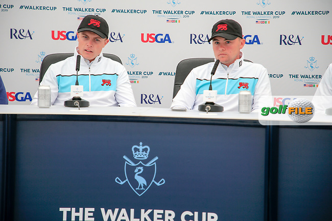 Conor Purcell  (GB&I) Alex Fitzpatrick (GB&I) during the press conference at the Walker Cup, Royal Liverpool Golf CLub, Hoylake, Cheshire, England. 06/09/2019.<br /> Picture Fran Caffrey / Golffile.ie<br /> <br /> All photo usage must carry mandatory copyright credit (© Golffile | Fran Caffrey)
