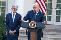 President of the United States Donald J. Trump speaks with reporters as his nominee for United States Federal Reserve Chairman Jerome Powell looks on in the Rose Garden at the White House in Washington, D.C. on November 2nd, 2017. Credit: Alex Edelman / CNP /MediaPunch