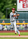 25 July 2017: Tri-City ValleyCats infielder Jonathan Arauz in action against the Vermont Lake Monsters at Centennial Field in Burlington, Vermont. The Lake Monsters defeated the ValleyCats 11-3 in NY Penn League action. Mandatory Credit: Ed Wolfstein Photo *** RAW (NEF) Image File Available ***