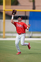 Philadelphia Phillies Josh Stephen (2) catches a fly ball during an Instructional League game against the Toronto Blue Jays on October 7, 2017 at the Englebert Complex in Dunedin, Florida.  (Mike Janes/Four Seam Images)