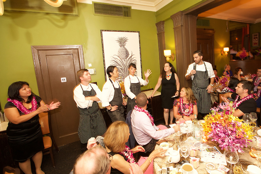 New York, NY - September 9, 2016:  Chef Shaymus Alwin of Azure at the Royal Hawaiian Hotel presents dinner with his team at the James Beard House in Greenwich Village. <br /> <br /> CREDIT: Clay Williams for The James Beard Foundation.<br /> <br /> &copy; Clay Williams / claywilliamsphoto.com