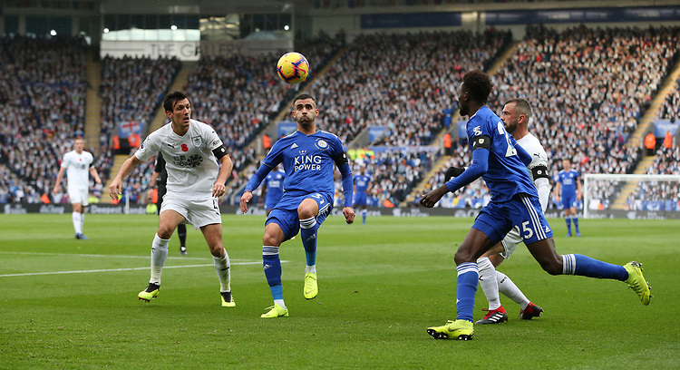 Leicester City's Rachid Ghezzal shields the ball from Burnley's Jack Cork<br /> <br /> Photographer Stephen White/CameraSport<br /> <br /> The Premier League - Saturday 10th November 2018 - Leicester City v Burnley - King Power Stadium - Leicester<br /> <br /> World Copyright © 2018 CameraSport. All rights reserved. 43 Linden Ave. Countesthorpe. Leicester. England. LE8 5PG - Tel: +44 (0) 116 277 4147 - admin@camerasport.com - www.camerasport.com