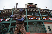General view of a statue of Chicago Cubs Hall of Fame member Ernie Banks before Game 4 of the Major League Baseball World Series against the Cleveland Indians on October 29, 2016 at Wrigley Field in Chicago, Illinois.  (Mike Janes/Four Seam Images)