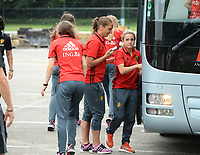 20170725 - TILBURG , NETHERLANDS :  Belgian Davina Philtjens (r) and Maud Coutereels (middle) pictured going back to Belgium as the Belgian national women's soccer team Red Flames was not able to qualify for the quarter finals after a loss against The Netherlands , on Tuesday 25 July 2017 in Tilburg . The Red Flames finished on 3 th place in Group A at the Women's European Championship 2017 in the Netherlands. PHOTO SPORTPIX.BE | DAVID CATRY
