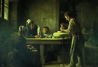 Europe/France/Bretagne/29/Finistère/Quimper:  Intérieur d'une faïencerie de Quimer par Emma Herland 1906 - Musée Départemental