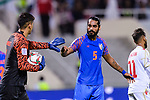 Goalkeeper Gurpreet Singh Sandhu of India (L) speaks to teammate Sandesh Jhingan during the AFC Asian Cup UAE 2019 Group A match between India (IND) and Bahrain (BHR) at Sharjah Stadium on 14 January 2019 in Sharjah, United Arab Emirates. Photo by Marcio Rodrigo Machado / Power Sport Images