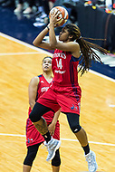 Washington, DC - Sept 17, 2017: Washington Mystics guard Tierra Ruffin-Pratt (14) goes up for a basket during playoff game between the Mystics and Lynx at the Verizon Center in Washington, DC. (Photo by Phil Peters/Media Images International)