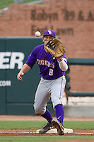 LSU Tigers first baseman Mason Katz (8) records a putout against the Texas A&M Aggies in the NCAA Southeastern Conference baseball game on May 10, 2013 at Blue Bell Park in College Station, Texas. LSU defeated Texas A&M 7-4. (Andrew Woolley/Four Seam Images).