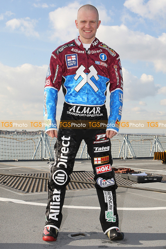 Krzysztof Kasprzak of Lakeside Hammers - Lakeside Hammers Speedway team announce sponsorship by the Royal Navy for the 2010 season aboard HMS Kent in Portsmouth Dockyard - 02/03/10 - MANDATORY CREDIT: Gavin Ellis/TGSPHOTO - Self billing applies where appropriate - Tel: 0845 094 6026