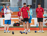 Mens Tripple match - Wales v Scotland<br /> <br /> *This image must be credited to Ian Cook Sportingwales and can only be used in conjunction with this event only*<br /> <br /> 21st Commonwealth Games - Lawn Bowls  -  Day 3 - 07/04/2018 - Broadboard beach bowls club - Gold Coast City - Australia