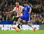 Chelsea's Diego Costa tussles with Sunderland's Younes Kaboul<br /> <br /> Barclays Premier League- Chelsea vs Sunderland - Stamford Bridge - England - 19th December 2015 - Picture David Klein/Sportimage