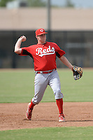 Cincinnati Reds third baseman Gavin LaValley (3) during an Instructional League game against the Milwaukee Brewers on October 6, 2014 at Maryvale Baseball Park Training Complex in Phoenix, Arizona.  (Mike Janes/Four Seam Images)