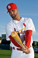 Mar 01, 2010; Jupiter, FL, USA; St. Louis Cardinals infielder Albert Pujols (5) during  photoday at Roger Dean Stadium. Mandatory Credit: Tomasso De Rosa/ Four Seam Images