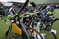 25 MAY 2014 - BRIGG, GBR - A lifejacket hangs from, and paddles lean against, the racking in transition during the World Quadrathlon Federation 2014 Middle Distance World Championships at the Brigg Bomber in Brigg in Lincolnshire, Great Britain (PHOTO COPYRIGHT © 2014 NIGEL FARROW, ALL RIGHTS RESERVED)