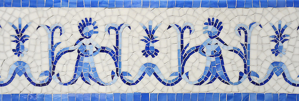 "Pineapple People, a hand-nipped 8 1/4"" mosaic border shown in Lapis Lazuli, Iolite, and Covelite with an Absolute White Sea Glass™ background, is part of the Sea Glass™ Collection by New Ravenna."