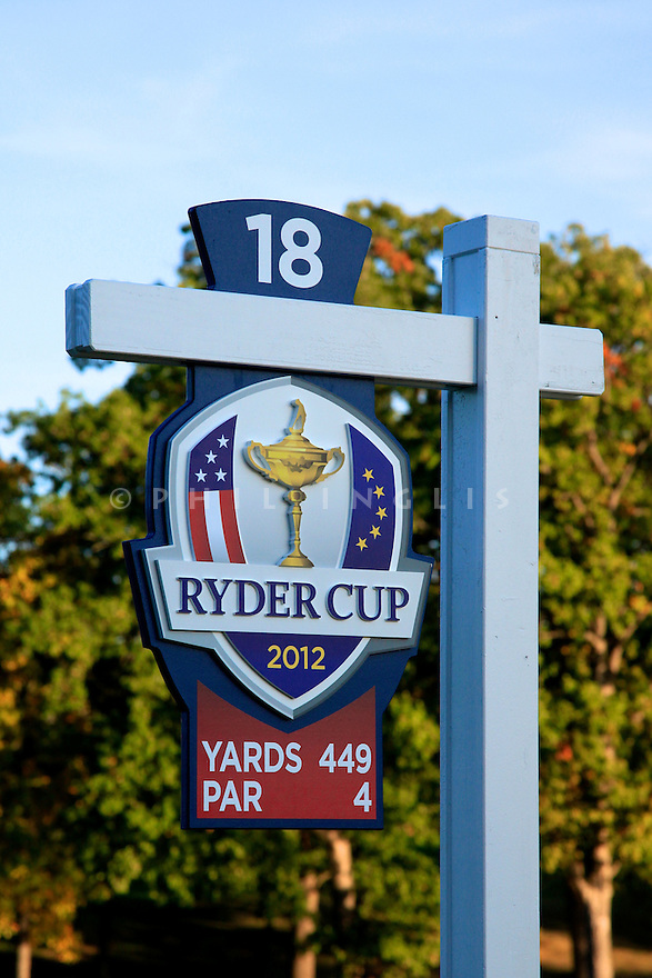 18th tee   during practice thursday of the 39th Ryder Cup matches, Medinah Country Club, Chicago, Illinois, USA.  28-30 September 2012 (Picture Credit / Phil Inglis)