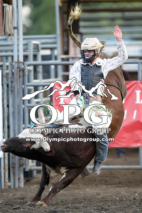 20 Aug 2014:  Casey Ty White scored a 79.1 in the first round of the Seminole Hard Rock Extreme Bulls competition at the Kitsap County Stampede in Bremerton, Washington.