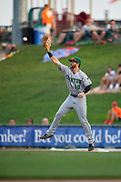 Clinton LumberKings first baseman Evan Edwards (18) stretches for a throw during a Midwest League game against the Great Lakes Loons on July 19, 2019 at Dow Diamond in Midland, Michigan.  Clinton defeated Great Lakes 3-2.  (Mike Janes/Four Seam Images)