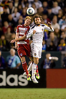 LA Galaxy midfielder David Beckham battles with FC Dallas midfielder Dax McCarty. FC Dallas defeated the LA Galaxy 3-0 to win the Western Division 2010 MLS Championship at Home Depot Center stadium in Carson, California on Sunday November 14, 2010.
