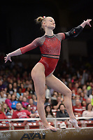 Arkansas' Bailey Lovett competes Friday, Feb. 7, 2020, in the beam portion of the Razorbacks' meet with Georgia in Barnhill Arena in Fayetteville. Visit  nwaonline.com/gymbacks/ for a gallery from the meet.<br /> (NWA Democrat-Gazette/Andy Shupe)
