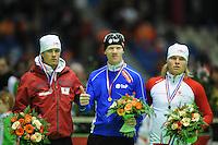 SCHAATSEN: HEERENVEEN: Thialf, KPN NK Allround, 05-02-2012, Podium 1500m Heren, Rhian Ket, Ben Jongejan, Koen Verweij, ©foto: Martin de Jong