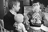 Boys with dolls, Vittoria Primary School, Islington, London.  1970.