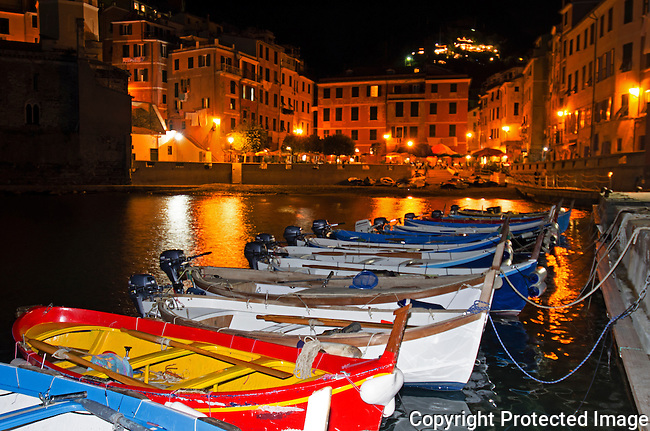 Town of Vernazza Cinque Terre Italy,night shot