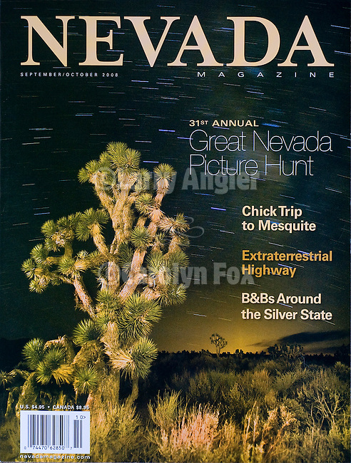 Published photography by Larry Angier..Cover photo, NEVADA magazine
