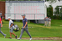 Kevin Kisner (USA) walks on to 16 green with his name at the top of the leaderboard in the background during round 4 of the Dean &amp; Deluca Invitational, at The Colonial, Ft. Worth, Texas, USA. 5/28/2017.<br /> Picture: Golffile | Ken Murray<br /> <br /> <br /> All photo usage must carry mandatory copyright credit (&copy; Golffile | Ken Murray)