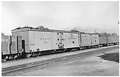 3/4 view of long reefer #152 and class 4r 30' reefer #51 at Salida, CO.<br /> D&amp;RGW  Salida, CO  Taken by Maxwell, John W. - 9/25/1949