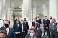 """GOP members of Congress listen as United States House Minority Leader Kevin McCarthy (Republican of California) and United States House Minority Whip Steve Scalise (Republican of Louisiana), and hold a press conference regarding the """"Commitment to America: to restore our way of life, rebuild the greatest economy, and renew the American dream"""" on the House Steps at the US Capitol in Washington, DC., Tuesday, September 15, 2020. <br /> Credit: Rod Lamkey / CNP /MediaPunch"""