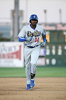 Ibandel Isabel (34) of the Rancho Cucamonga Quakes runs the bases after hitting a home run during a game against the Lancaster JetHawks at The Hanger on April 28, 2017 in Lancaster, California. Lancaster defeated Rancho Cucamonga, 16-10. (Larry Goren/Four Seam Images)