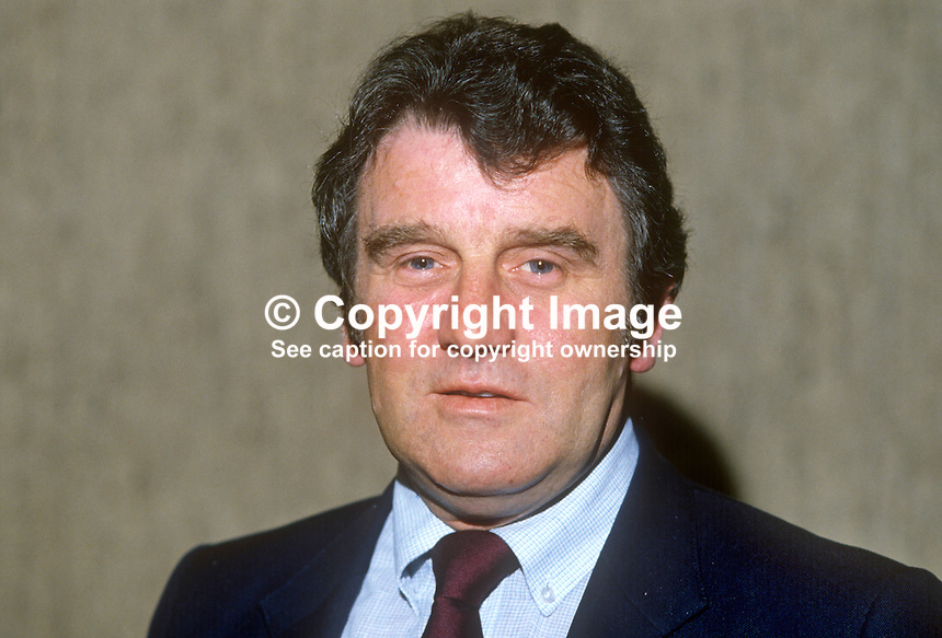 Tom Douglas, trade union official, Belfast, N Ireland, GMWU, General &amp; Municipal Workers' Union, April, 1982, 198204000032TD<br /> <br /> Copyright Image from Victor Patterson, 54 Dorchester Park, Belfast, UK, BT9 6RJ<br /> <br /> Tel: +44 28 9066 1296<br /> Mob: +44 7802 353836<br /> Voicemail +44 20 8816 7153<br /> Skype: victorpattersonbelfast<br /> Email: victorpatterson@me.com<br /> Email: victor@victorpatterson.com<br /> <br /> IMPORTANT: If you wish to use this image or any other of my images please go to www.victorpatterson.com and click on the Terms &amp; Conditions. Then contact me by email or phone with the reference number(s) of the image(s) concerned.