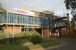 Scaffolding around the Mercury theatre, Colchester, Essex, England