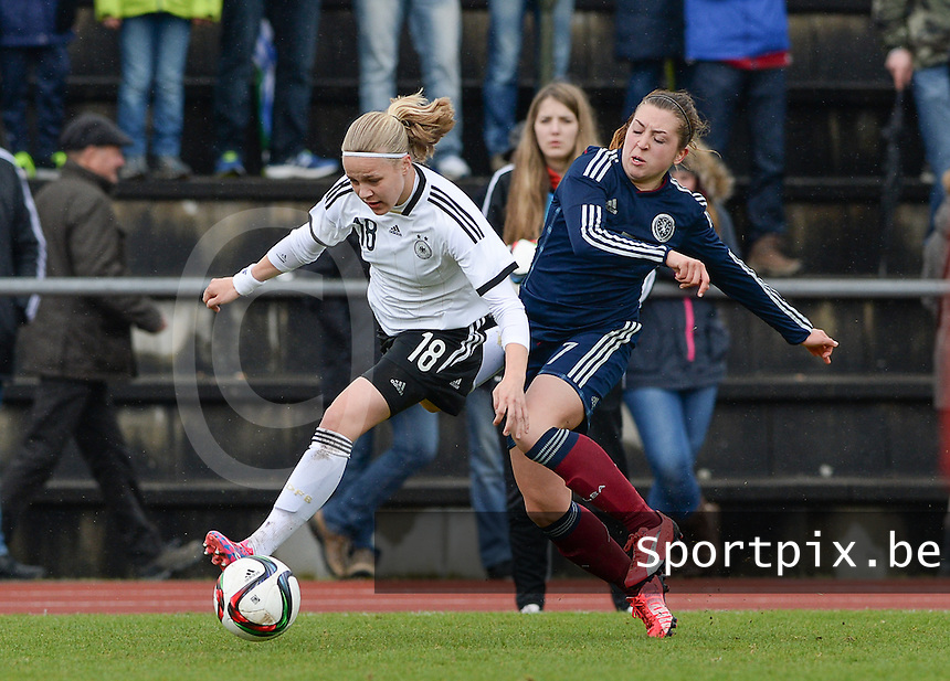20150404 - FORST , GERMANY  : duel pictured between Scottish Claire Williamson (right) and German Pia-Sophie Wolter (left) during the soccer match between Women Under 19 teams of Germany and Scotland , on the first matchday in group 5 of the UEFA Elite Round Women Under 19 at WaldseeStadion , Forst , Germany . Saturday 4th April 2015 . PHOTO DAVID CATRY