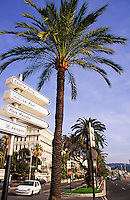 Nice, France. Promenade des Anglais with road signs. Cote d'Azur. Provence..