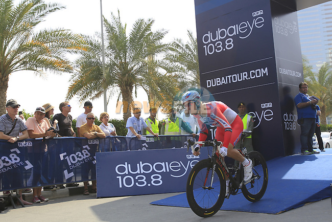 Vladimir Gusev (RUS) Katusha powers off the start ramp for Stage 1, individual time trial over 9.9km, of the inaugural Dubai Tour 2014 held in downtown Dubai, Dubai. 5th February 2014.<br /> Picture: Eoin Clarke www.newsfile.ie